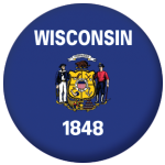 Wisconsin State Flag 58mm Mirror Keyring